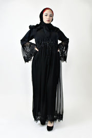 CHIFFON LACE CLOSED ABAYA