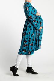 Maternity Zipper Pleated Midi - Persian Garden
