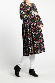 Maternity Zipper Pleated Midi - NAVY Garden - www.abayaaddict.com
