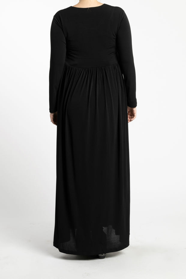 Maternity Zipper Pleated Maxi - Black - www.abayaaddict.com