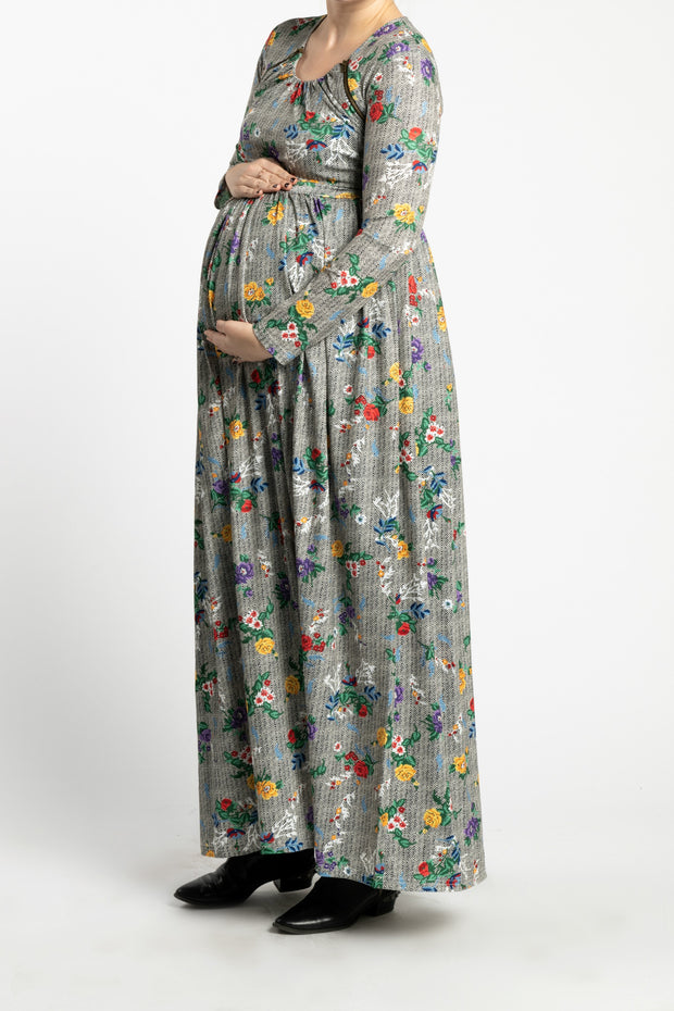 Maternity Zipper Pleated Maxi - ZigZag Garden
