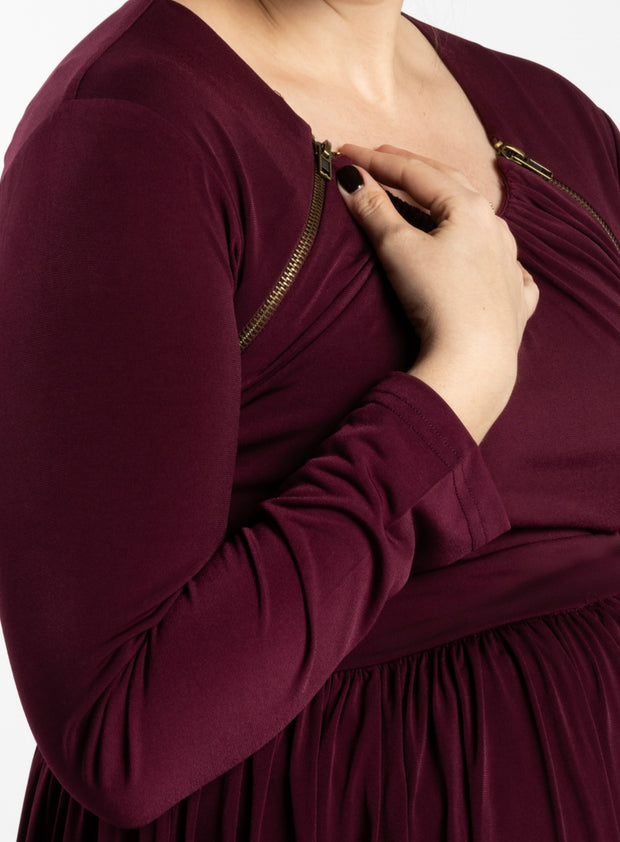 Maternity Zipper Pleated Maxi - Oxblood