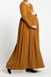 Maternity Zipper Pleated Maxi - Caramel