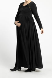 Maternity Zipper Pleated Maxi - Black