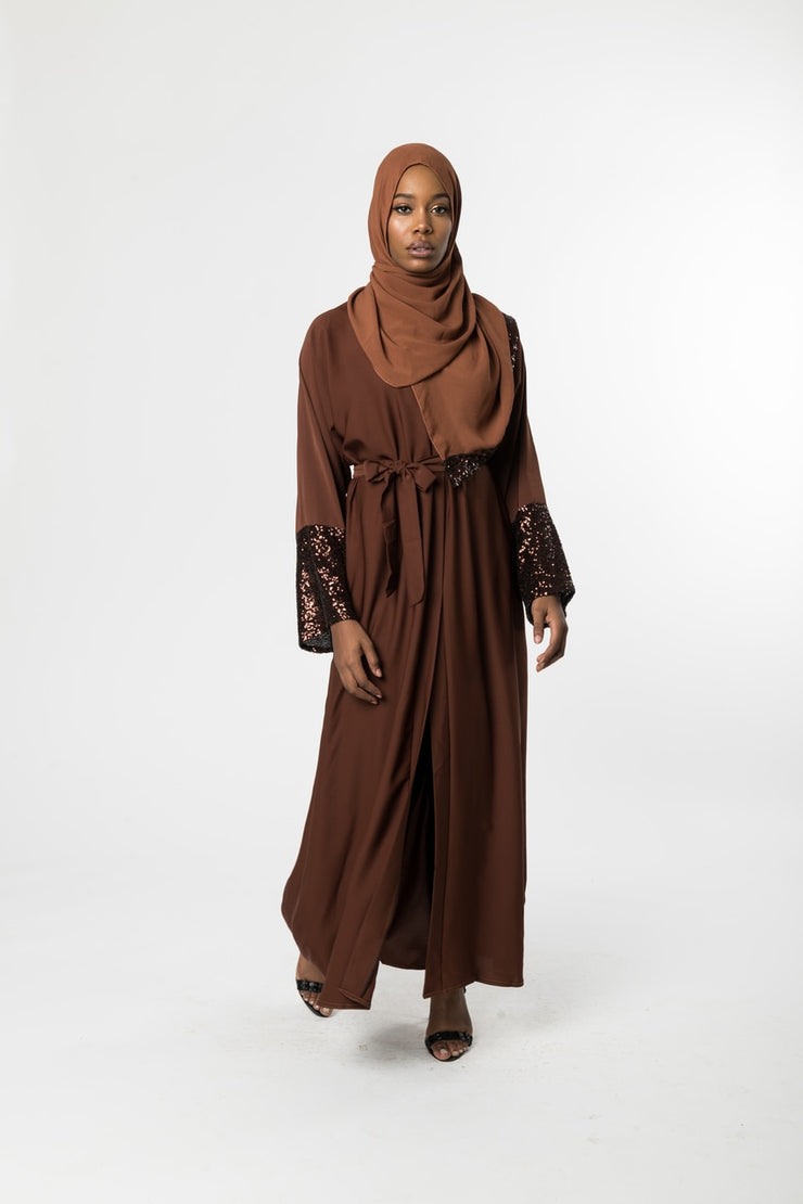 BROWN OPEN KIMONO ABAYA with SEQUIN Cuffs