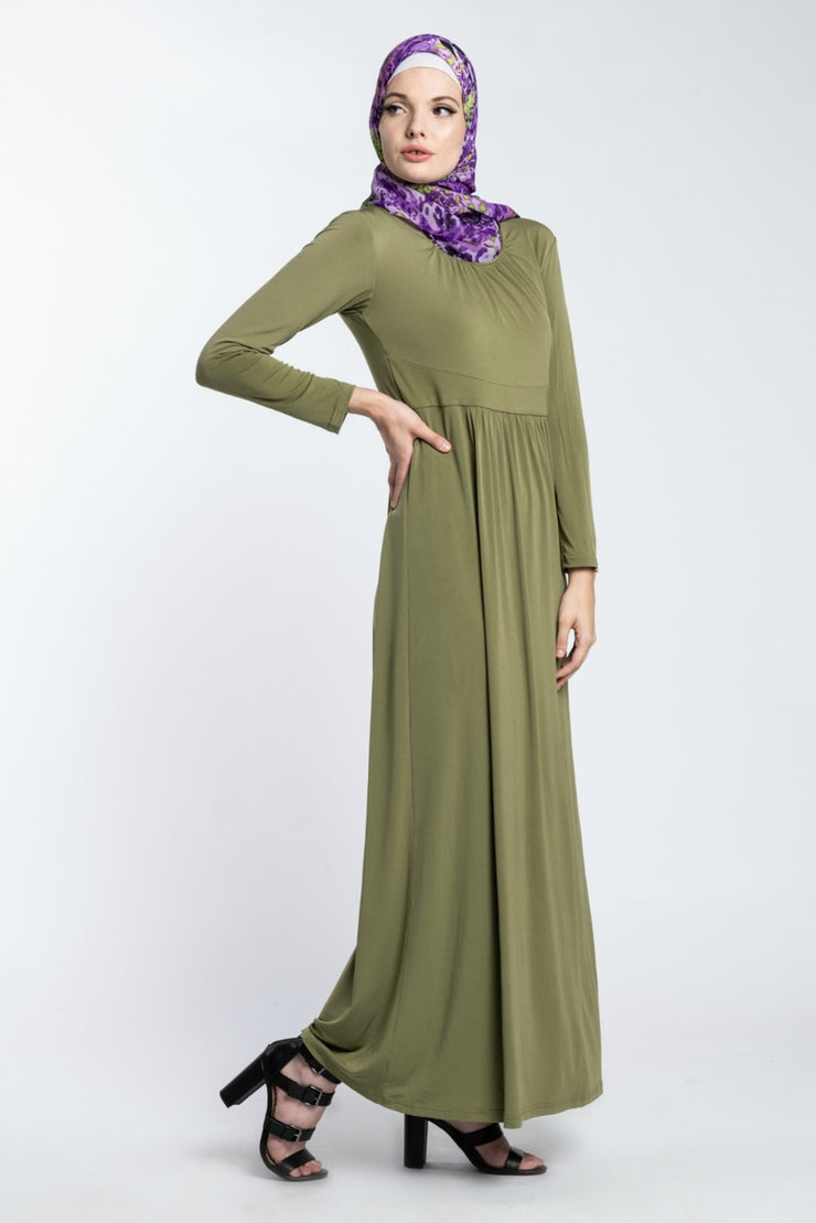 SOLIDIFY JERSEY MAXI- OLIVE GREEN