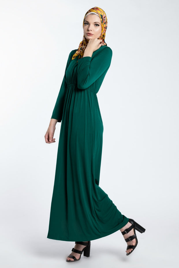 COMFORT CUT MAXI DRESS- FOREST GREEN - www.abayaaddict.com
