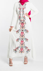 EMBROIDERED MAXI DRESS-WHITE