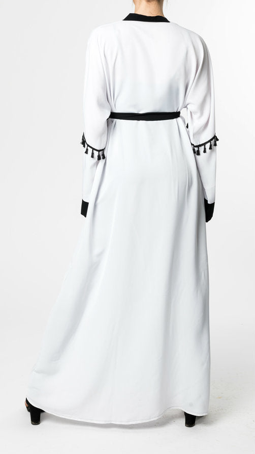WHITE OPEN Abaya with BLACK TASSLE - www.abayaaddict.com