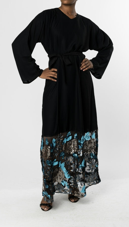 CLOSED BLACK ABAYA with SEQUIN