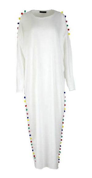 Oversized Pom Pom Accent Sweater Dress- White - www.abayaaddict.com