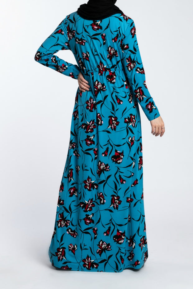 COMFORT CUT MAXI DRESS- BLUE - www.abayaaddict.com