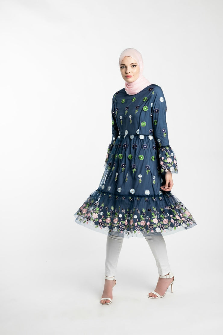 EMBROIDERED FLARE MIDI DRESS- BLUE - www.abayaaddict.com