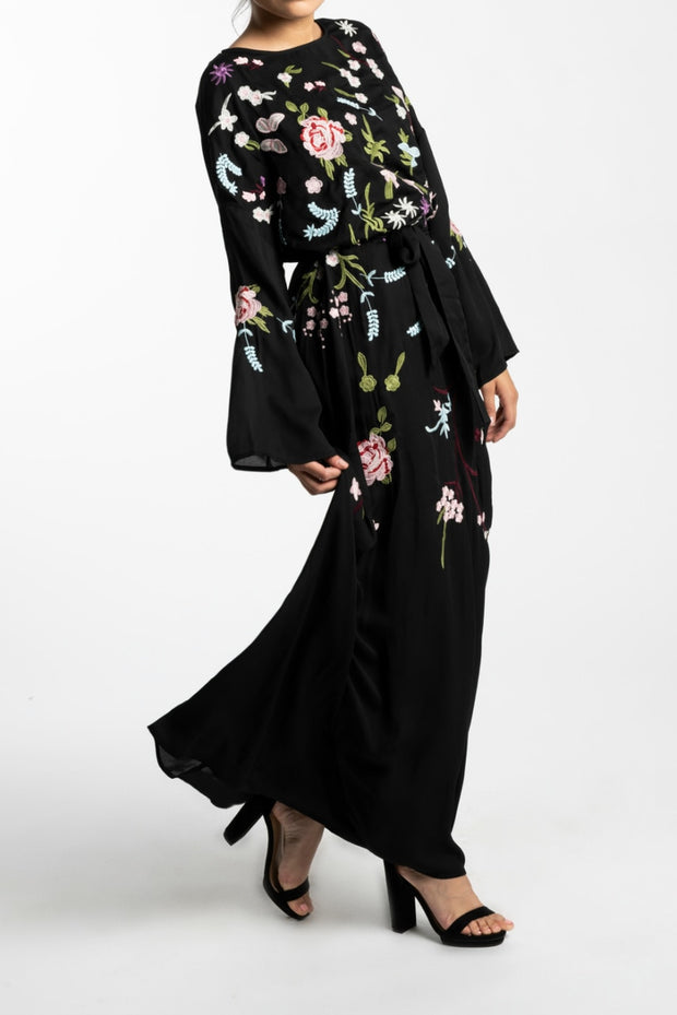 EMBROIDERED CHIFFON MAXI DRESS-- BLACK