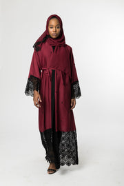 MAROON OPEN ABAYA with BLACK LACE and BLACK PEARLS - www.abayaaddict.com