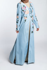 EMBROIDERED JEAN KIMONO- LIGHT BLUE