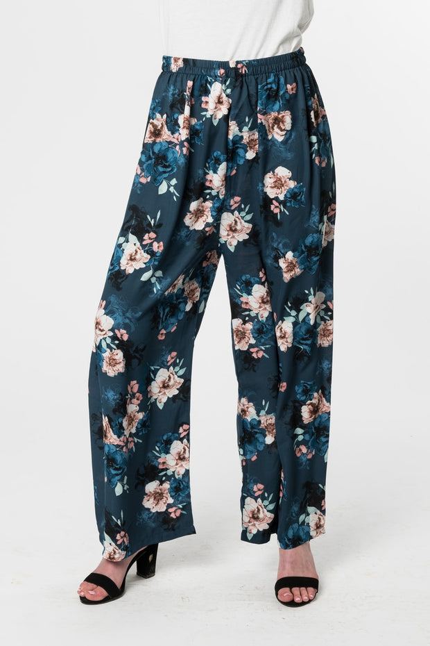 BLACK and BLUE FLORAL PANT