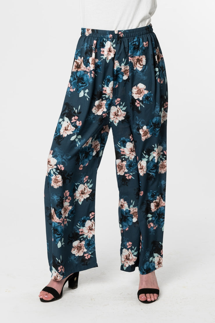 BLACK and BLUE FLORAL PANT - www.abayaaddict.com