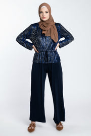 METALLIC JUMPSUIT- NAVY