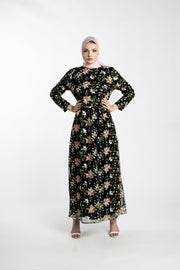 GARDEN EMBROIDERED LACE MAXI DRESS --BLACK - www.abayaaddict.com