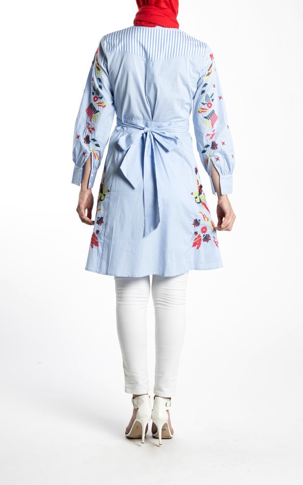 BEDAWEEYA STRIPED TUNIC- BLUE