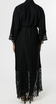 BLACK OPEN ABAYA with LACE and BLACK PEARLS