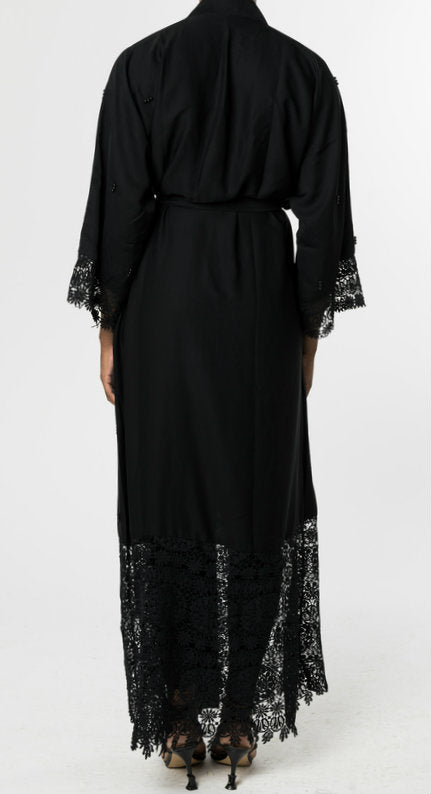 BLACK OPEN ABAYA with LACE and BLACK PEARLS - www.abayaaddict.com