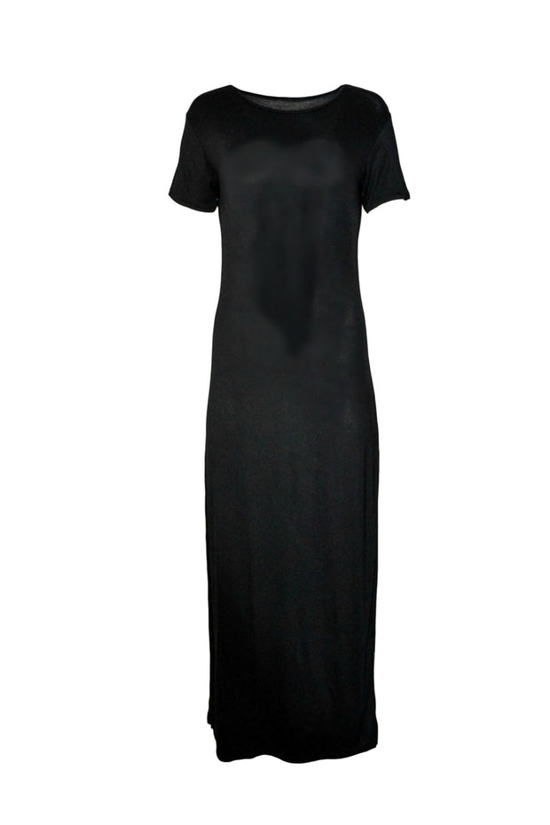 Short-sleeve Cotton Maxi Pencil Dress- Black - www.abayaaddict.com