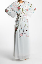 EMBROIDERED CHIFFON MAXI DRESS-  WHITE - www.abayaaddict.com
