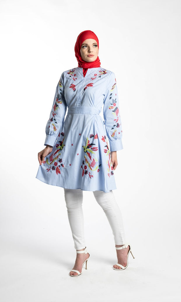 BEDAWEEYA STRIPED TUNIC- BLUE - www.abayaaddict.com