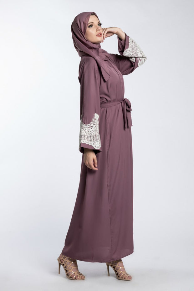 TAUPE OPEN ABAYA WITH LACE CUFFS