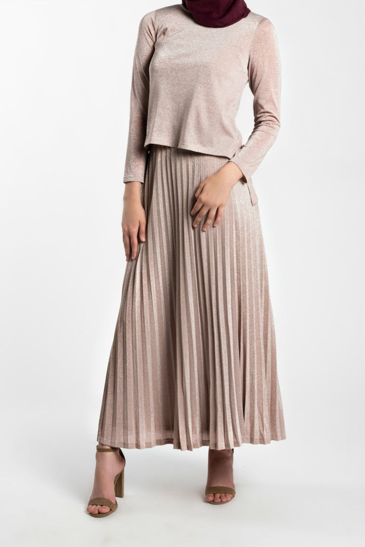 METALLIC TOP AND SKIRT CO-ORD SET- BLUSH PINK - www.abayaaddict.com