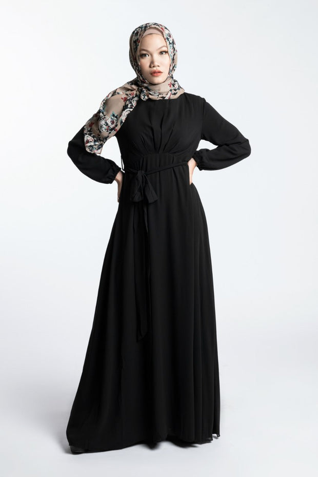 ELEGANCE CHIFFON DRESS- BLACK