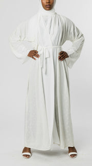 WHITE and SILVER OPEN Textured Abaya - www.abayaaddict.com
