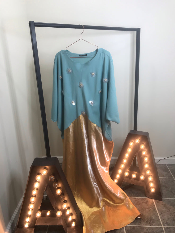 Teal And Gold Abaya - www.abayaaddict.com