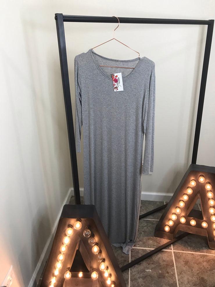 LONG SLEEVE COTTON MAXI ONE SIZE- light grey - www.abayaaddict.com