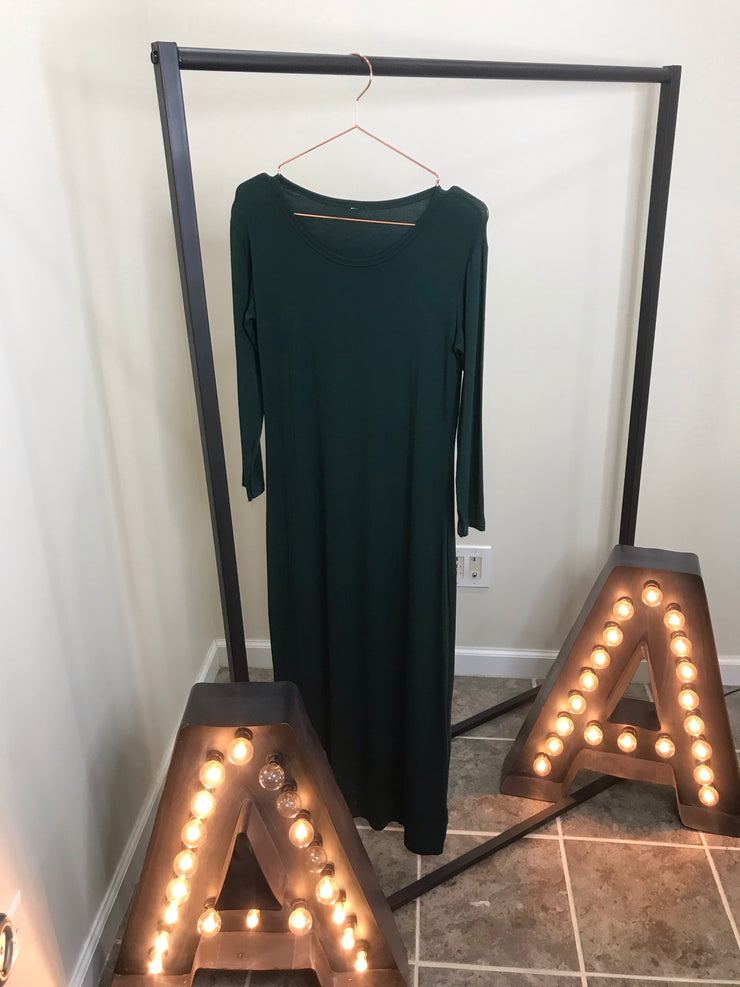 LONG SLEEVE COTTON MAXI ONE SIZE- green - www.abayaaddict.com