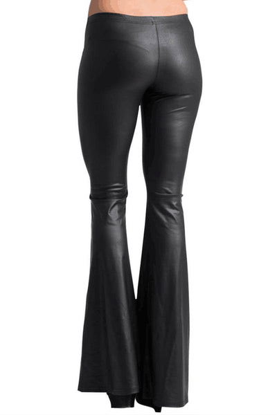 Faux Leather Bell Bottom Leggings