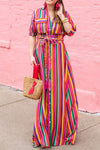 Rainbow Maxi Shirt Dress