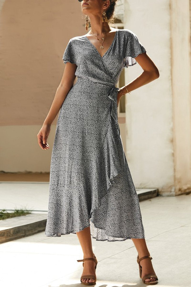 Deep V Wavy Wrap Dress