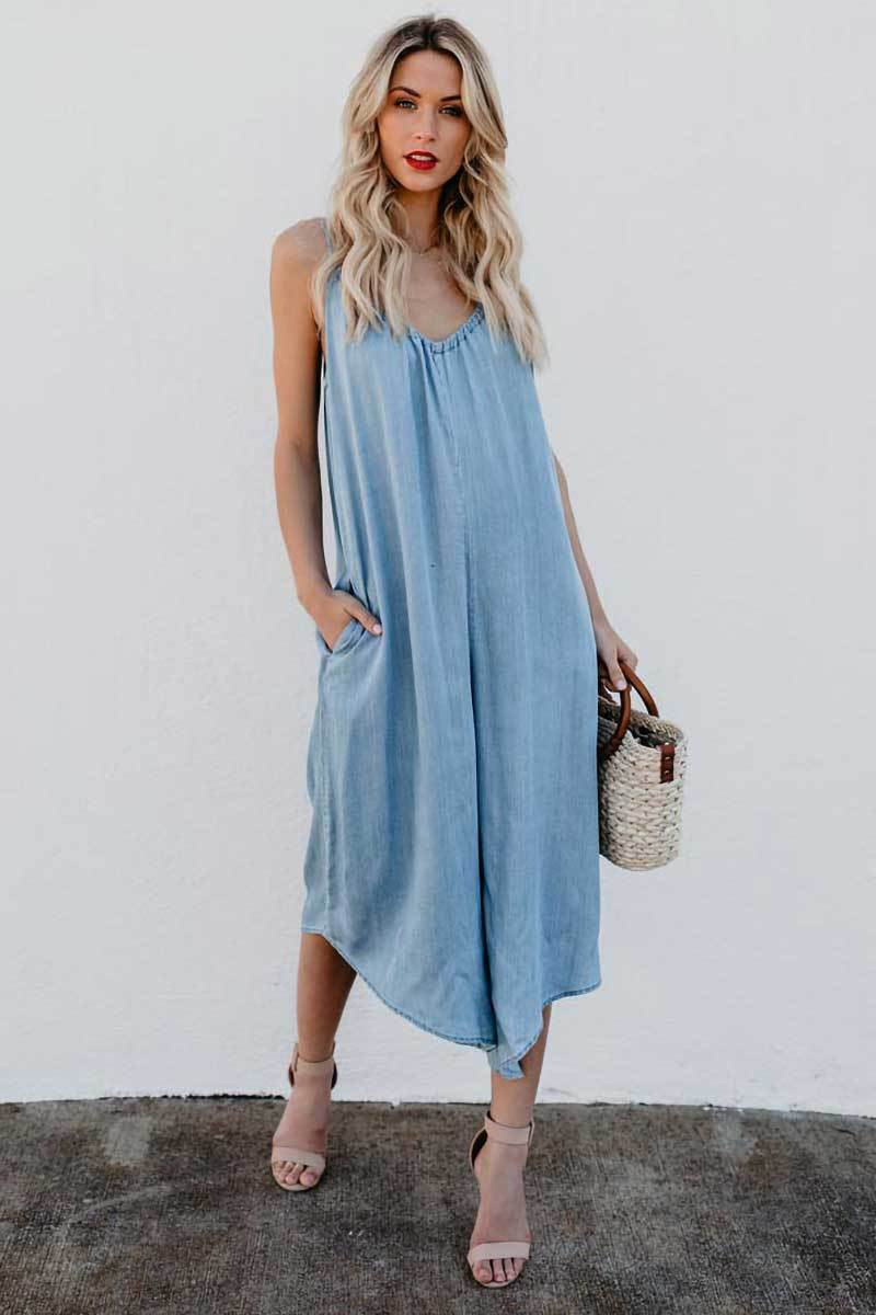Loose V-Neck Jumpsuit