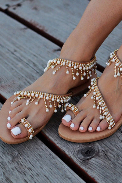String Beads Flat Sandals