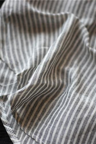Striped Linen Blend Gauze Shirt Dress