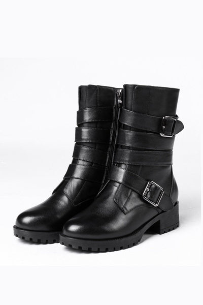 Black Multi Buckle Strap Black Short Boot