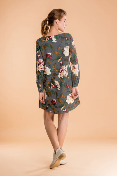 All Over Floral Print Linen Shift Dress