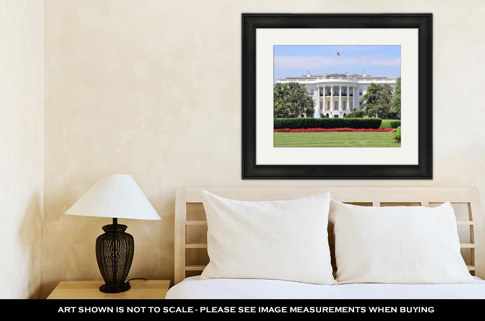 Framed Print, White House From South Lawn On Summer Day Flowers And Fountain Truman