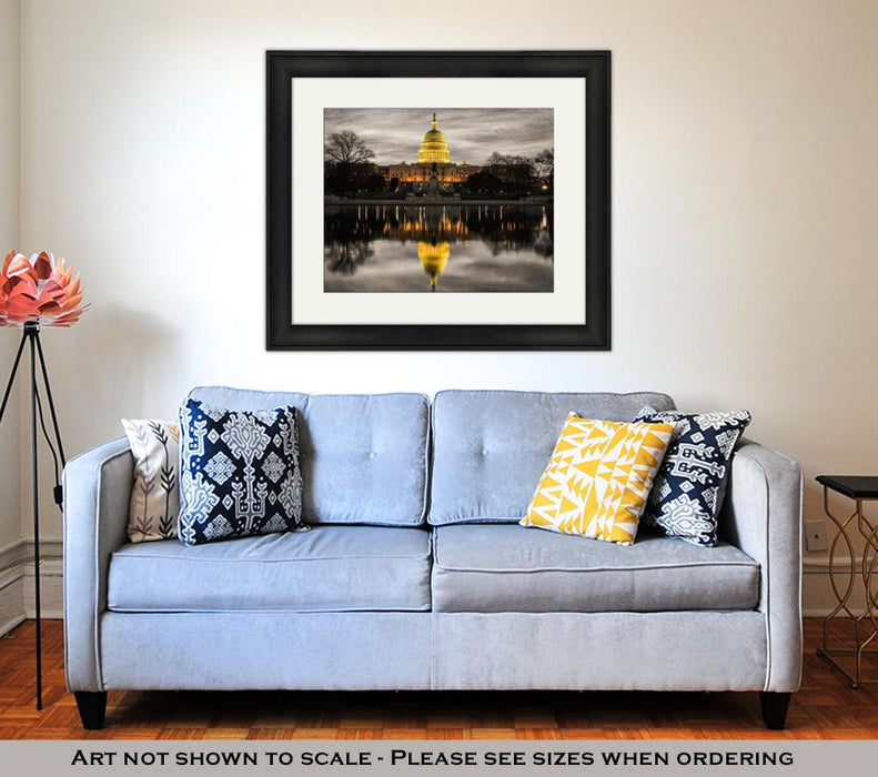 Framed Print, Us Capitol Building And Reflection At Sunrise Washington Dc USA