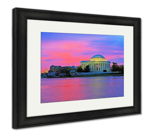 Framed Print, Jefferson Memorial At Sunrise