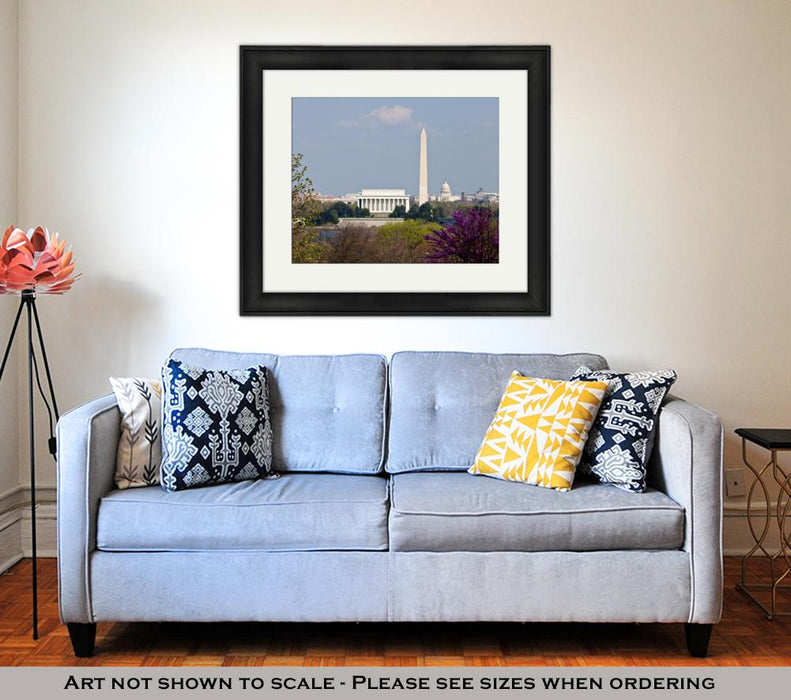 Framed Print, Capitol Building Washington Dc Skyline Lincoln Memorial
