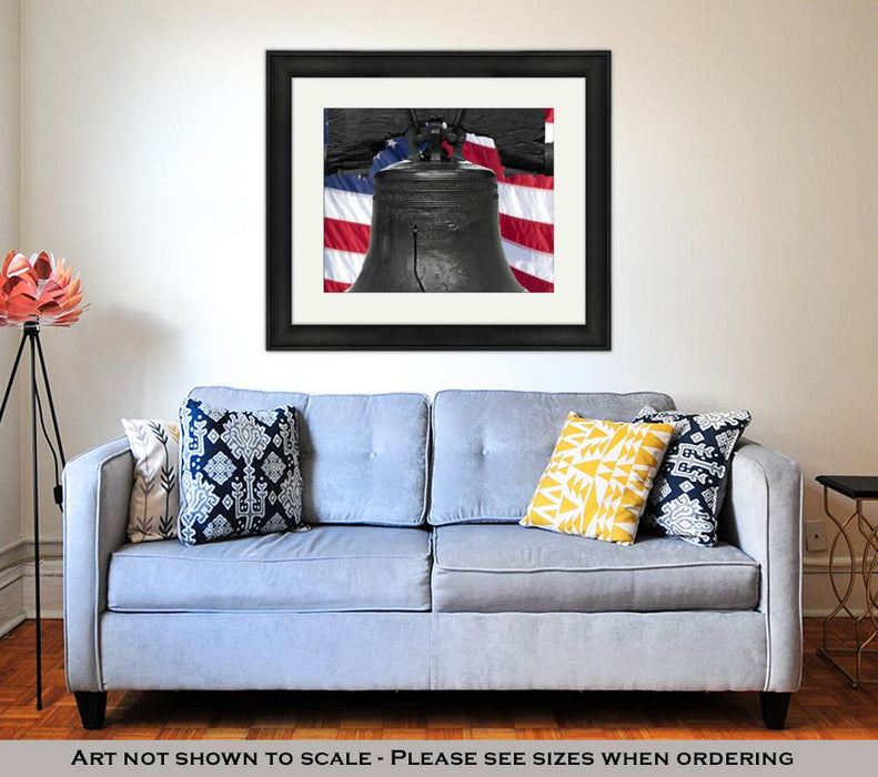 Framed Print, Isolated Statue Of The Authentic Liberty Bell Philadelphia Pa